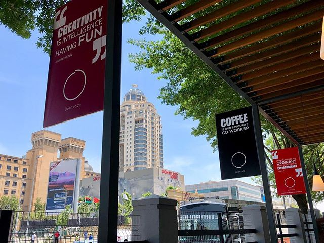 Sitting outside on the deck - the best spot to work from . . . #johannesburg #nelsonmandelasquare #sandton #sandtoncity #open #openworkspaces #coworking #cafe #office #hotdeak #cowork #view