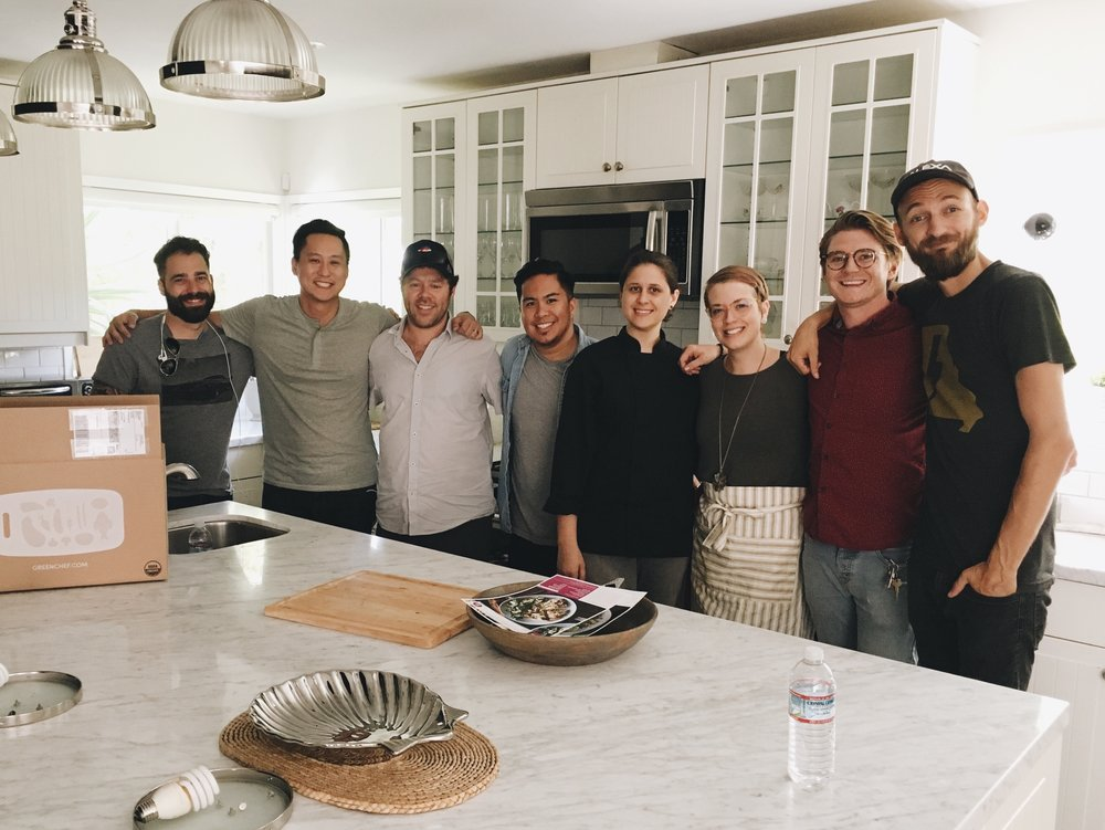 Pictured (left to right): David Gielan (Director), Phil Shen (GC, Content), Michael Joseph (GC, CEO),  Mike V , Dana Murrell (GC, Executive Chef), Sara Heilman (GC, Chef), Matt Marenyi (Producer), Jack Caswell (DP)