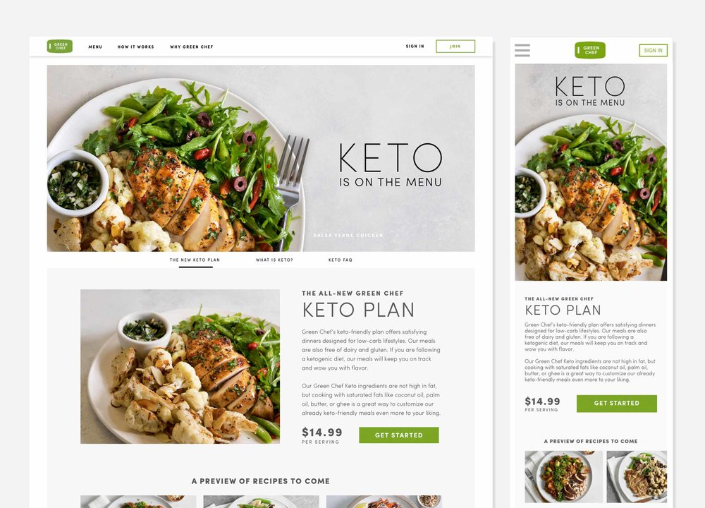 Informational landing page for Green Chef's Keto product
