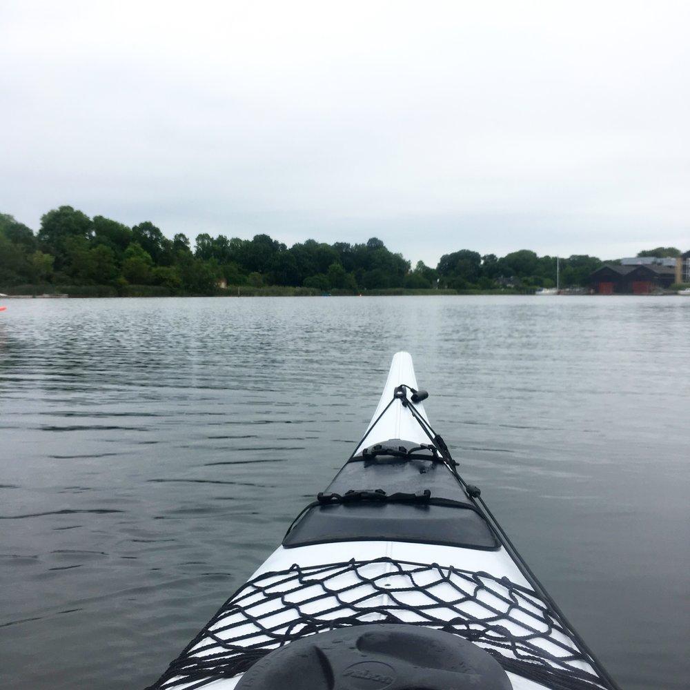 Kayaking at Holmen, Copenhagen, yesterday morning.