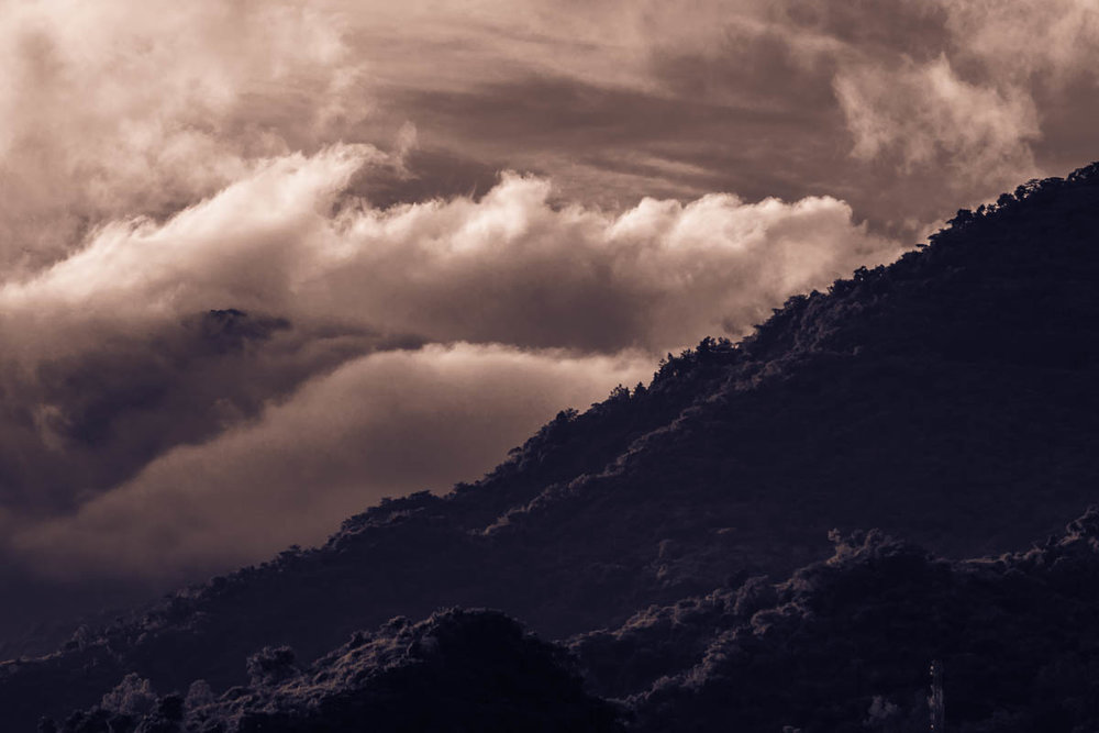 Mussoorie hills from Upper Rajpur, August 2014