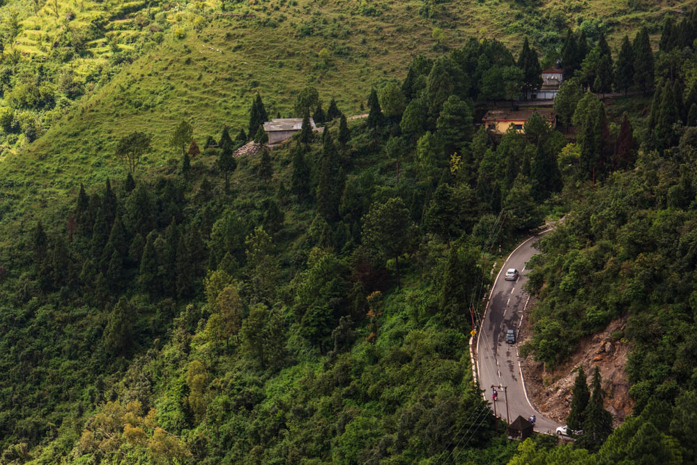 Mussoorie Road from Barlowganj, September 2014