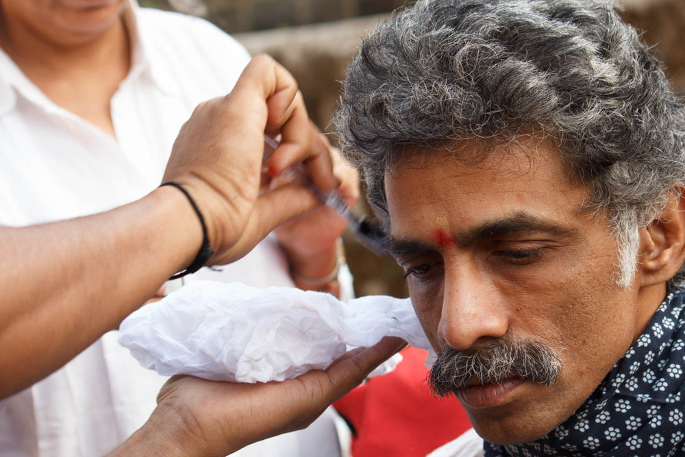 Makrand Deshpande getting into character during make up