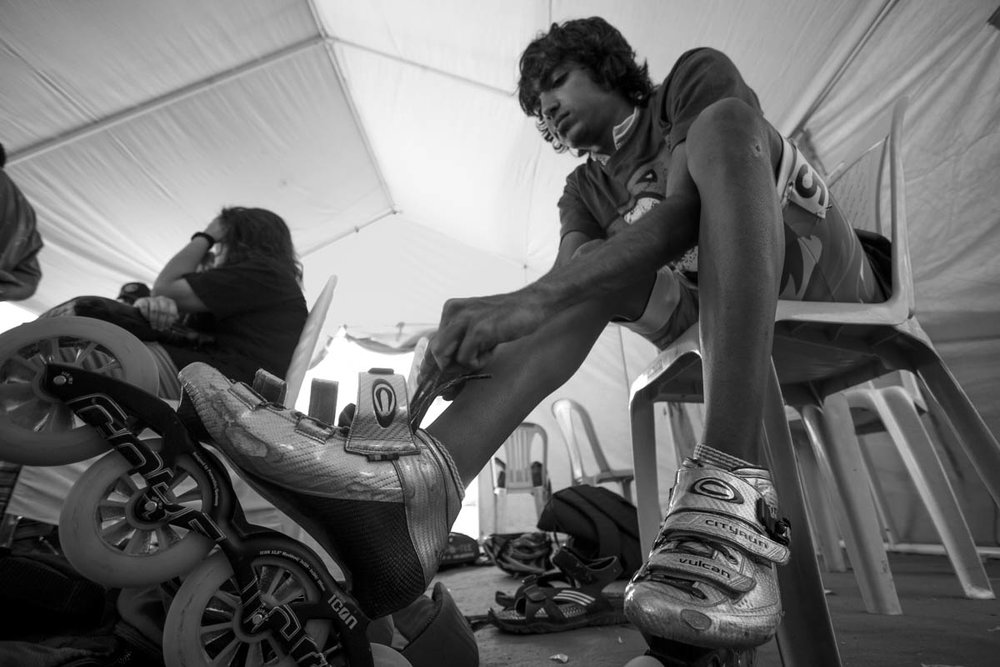 Skating pro and stuntman Arjun Nichani laces up