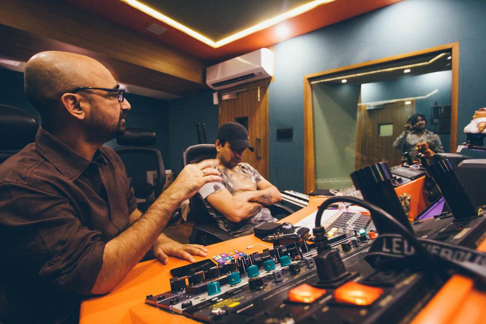 Composer Hitesh Sonik and singer Javed Ali at a recording session