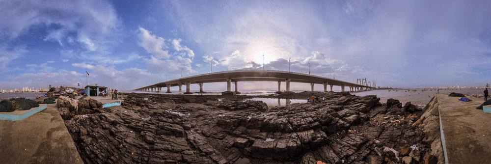 Sea-Link seen from Worli Koliwada, June 2012