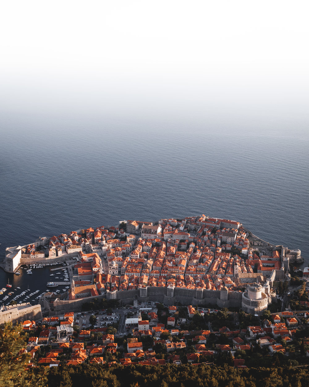 The old town of Dubrovnik is surrounded by an almost 2 kilometres long city wall