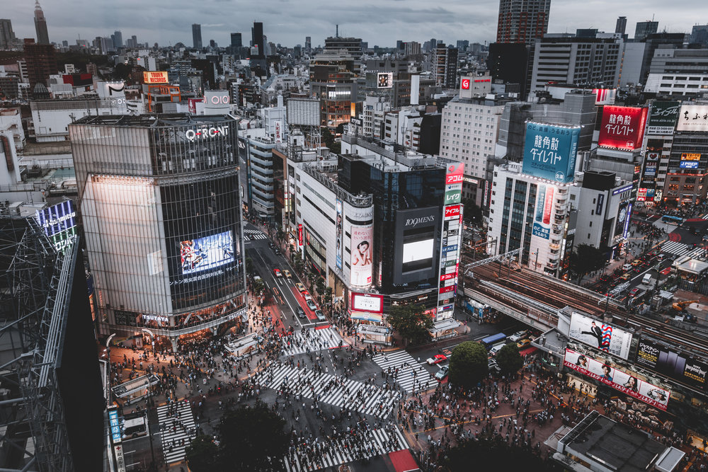 Tokyo's crossings are most spectacular when viewed from above during rush hour