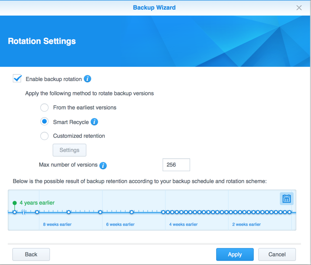 Backup rotation settings