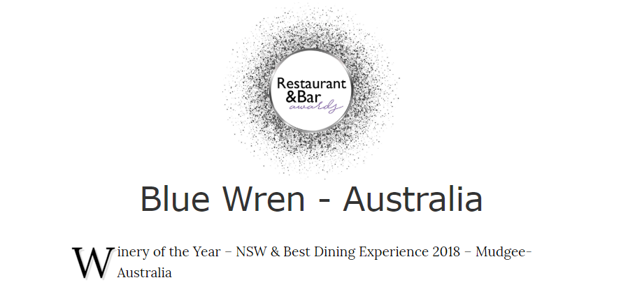 Blue Wren Mudgee wines both Winery of the Year and Best Dining Experience 2018