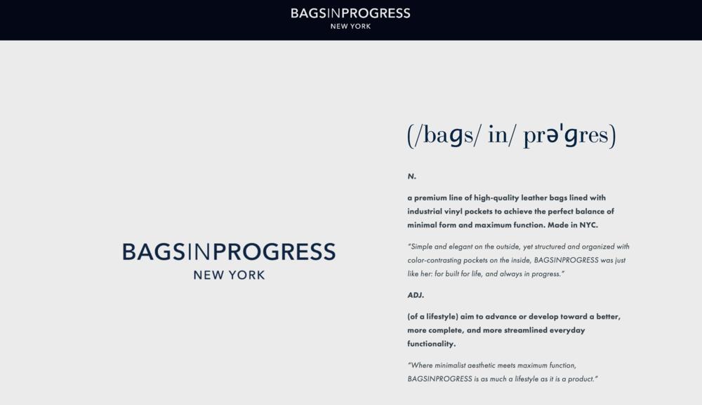 BAGSINPROGRESS Homepage