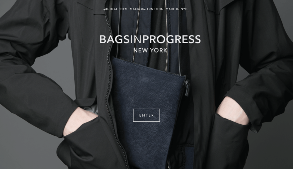 BAGSINPROGRESS Welcome Page