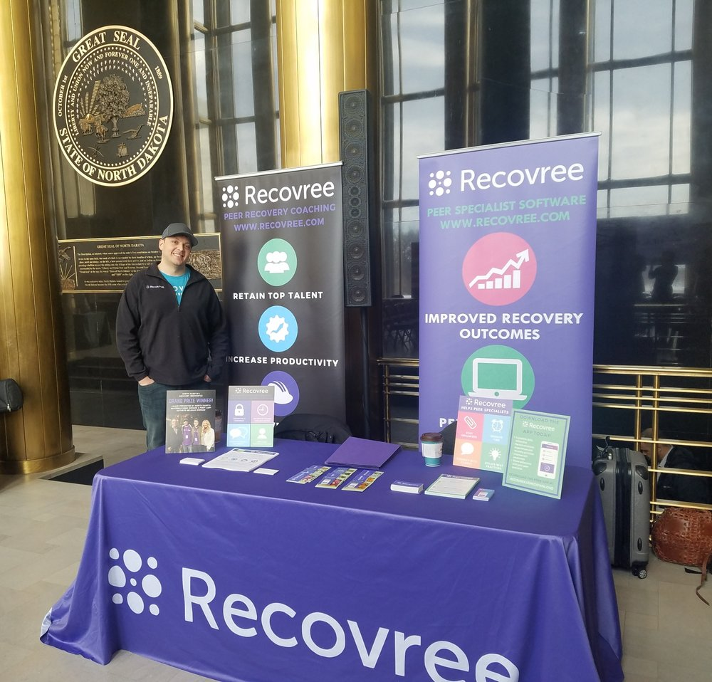 Luke, Recovree co-founder, at Recovery Day at the Capitol in Bismarck, North Dakota.