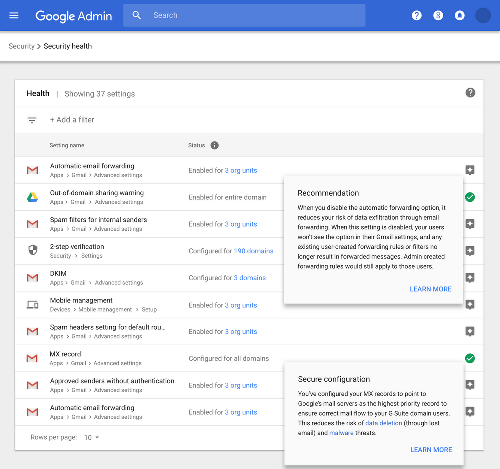 Don't worry if you don't know how to address some security concerns in your organisation; the G Suite security center proactively recommends measures for you to enact, ensuring you stay GDPR compliant. (Source: The Keyword | Google)