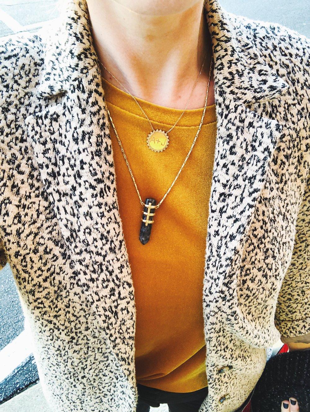 B oyfriend velvet top, leopard blazer