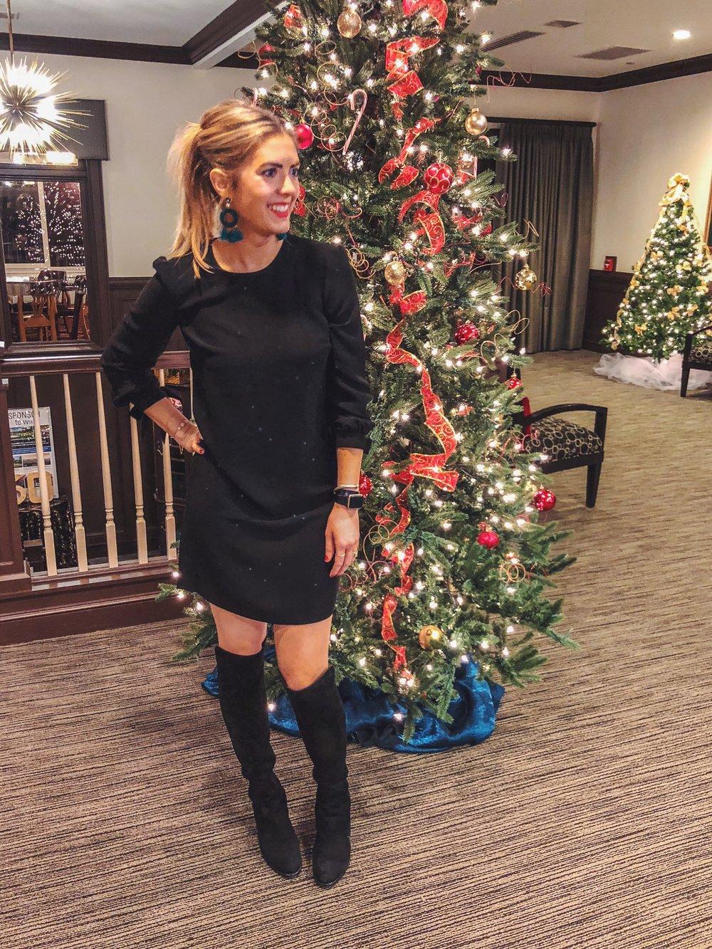 OTK boots  by Stuart Weitzman   tie sleeve black dress  - on sale!!