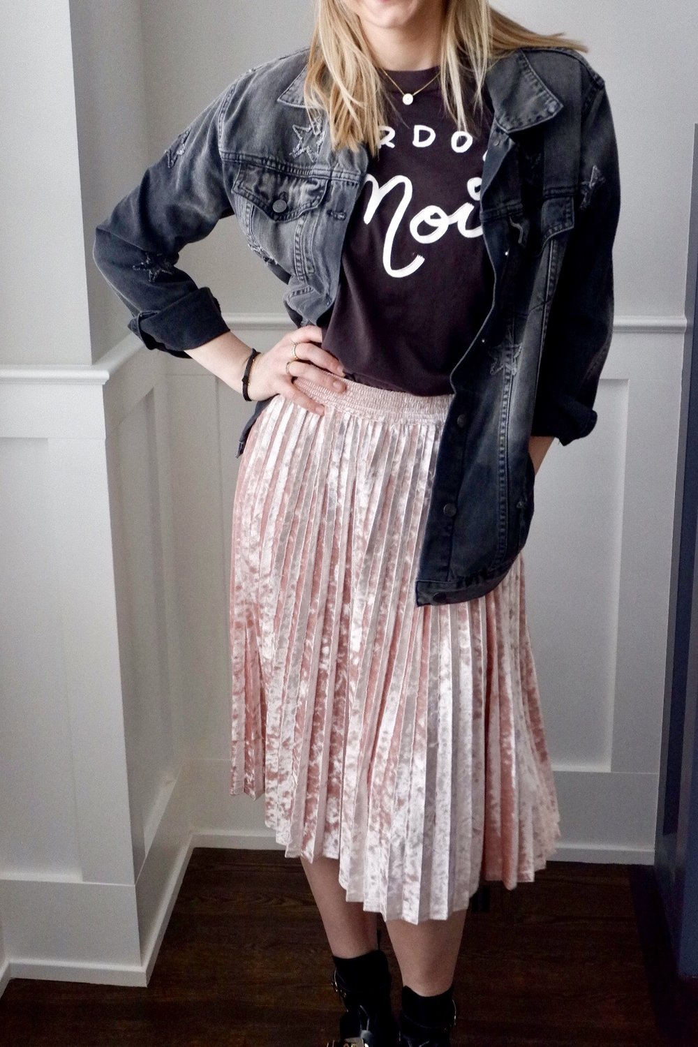 Look # 2 - Trendy AF - Incorporated a velvet midi skirt and my favorite combat boots (click links to shop!)