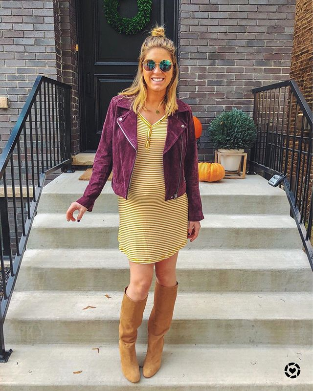 "All about Fall in these warm colors and cozy textures. This dress is actually ""loungewear"" and is currently on sale with an extra 30% off - but add a jacket and boots and it's a regular dress if you ask me!! 🙋🏼‍♀️ These boots are the smoothest suede and so versatile. Shop them both via @liketoknow.it and follow me in the app for links to all my styles! #SandSFashion #dressthebump #bumpstyle #sorryaboutmybellybutton 😂"