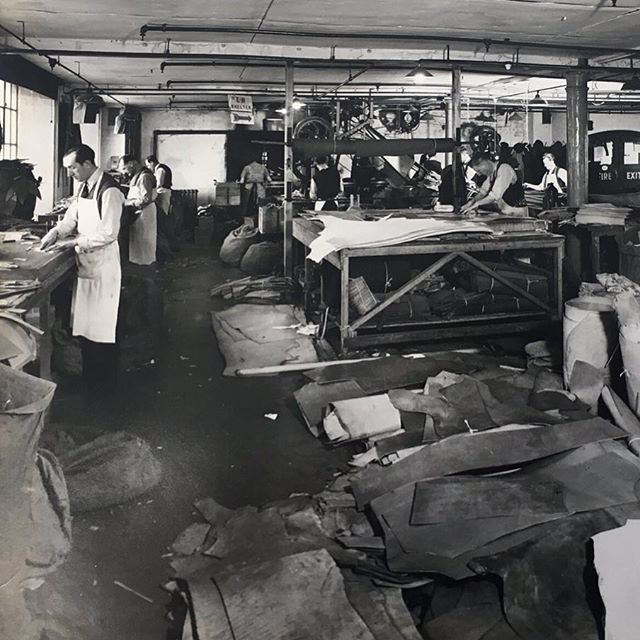 A scene from the leather cutting workshop at our old site in Bermondsey, London taken in 1943. #bermondsey #leather #barrowhepburngale