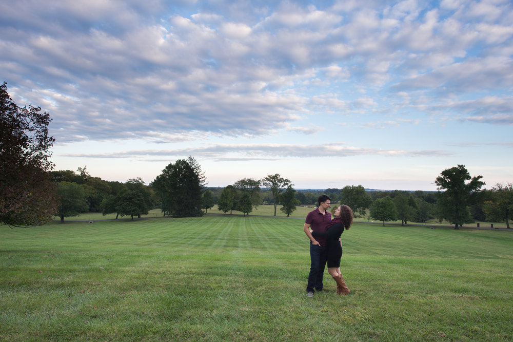 Couple standing in field at Morven Park for anniversary session