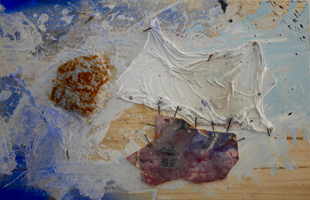 "Number 8 - Hidden, Sleeping  24"" x 32""  Lace handkerchief, steel wool,  white t-shirt fabric piece, nails, wood, acrylic, milk, vinegar, salt, ink, dye, white flour, steel wire, staples, rust, dirt, mold on wood  (2015)"