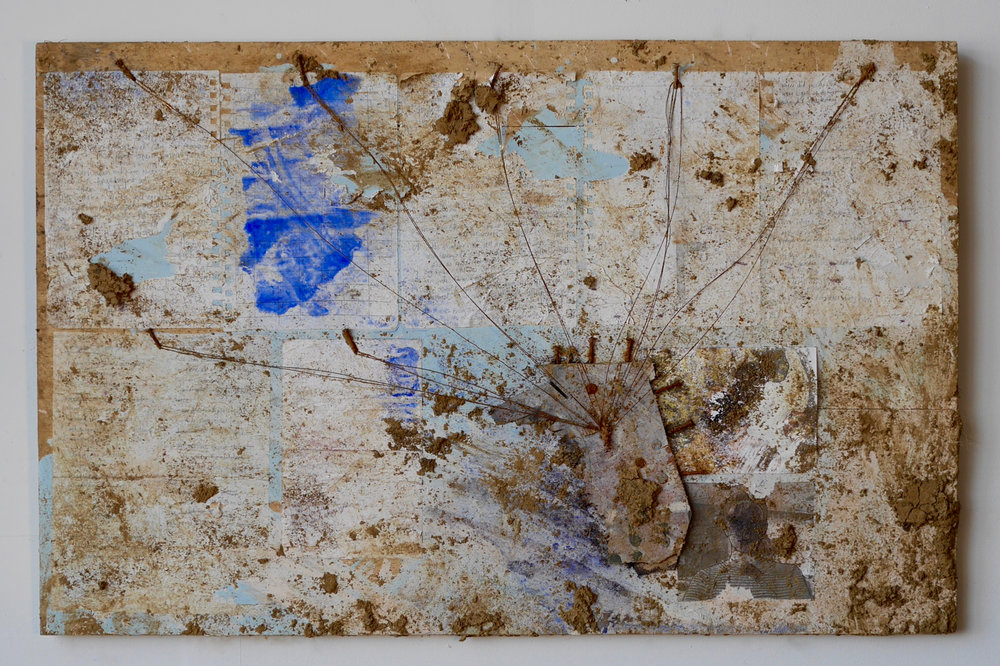 "Number 7 - Evidence  24"" x 32""  Journal entries, self-portrait 2004 on photographic paper, self-portrait 2008 on copy paper, white-out, nails, wood, acrylic, milk, vinegar, salt, ink, dye, white flour, steel wire, staples, rust, dirt, mold on wood  (2015)"