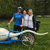 Stephanie and Lora with the sperm bike from Seattle Sperm Bank at the Footsteps for Fertility Race in April 2017!