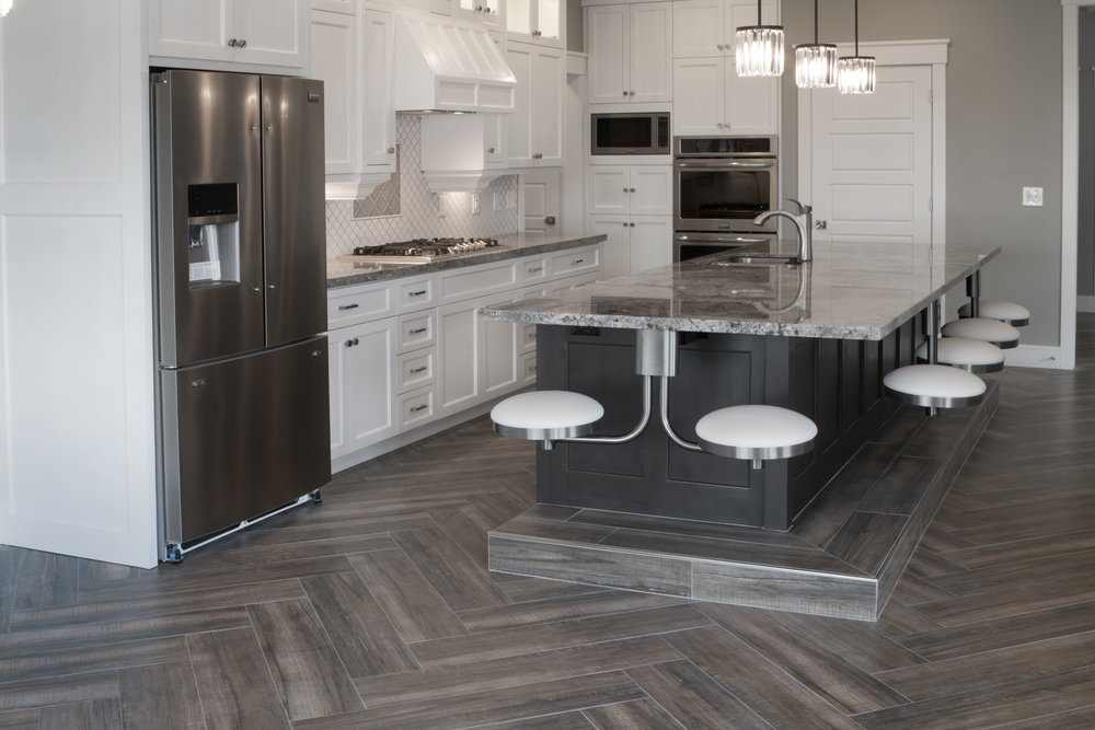 Wood Print Kitchen Tile Floor   Herringbone Design