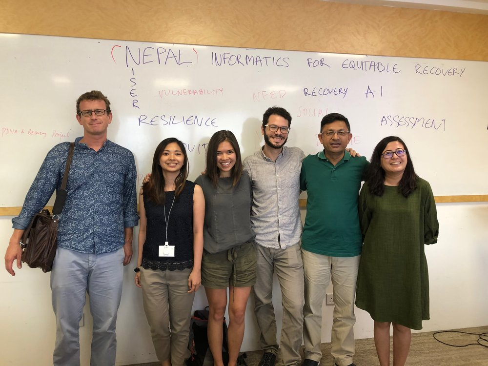 Members of our team after our first workshop at Nanyang Technological University. Pictured from left to right: Jamie McCaughey, Maricar Rabonza, me (Sabine Loos), David Lallemant, Nama Budhathoki, and Ritika Singh.
