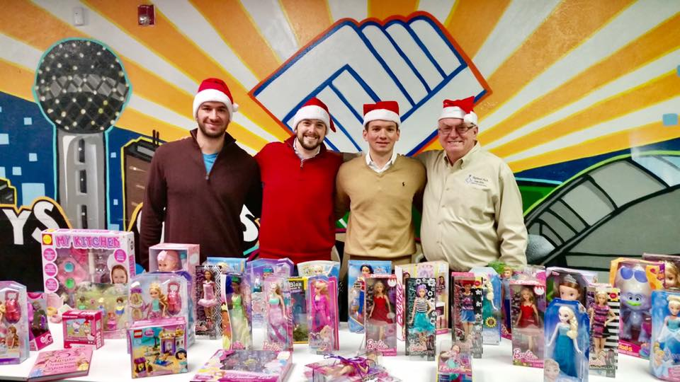 Boys and Girls Club of Dallas, Christmas Event.    Left to Right: Bro. Melo, Bro. Boghetich, Bro. Ham, Bro. Cast   December 2016.