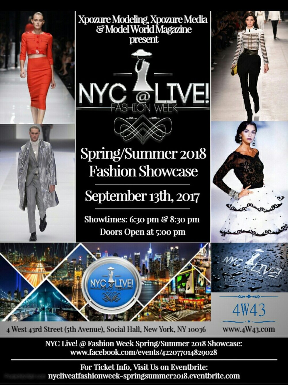 'N FASHION NEWS!! - NewzFlash !Xpozure Modeling, Xpozure Media & Model World Magazine Present NYC @ LIVE FASHION WEEK for the Spring / Summer 2018 Fashion Showcase.This event sponsored by T450 Style & Launch & Notorious Pink Rose' @ Social Hall NYC 4 W 43rd Street NY NY 10036 Doors Open at 5:00 PM