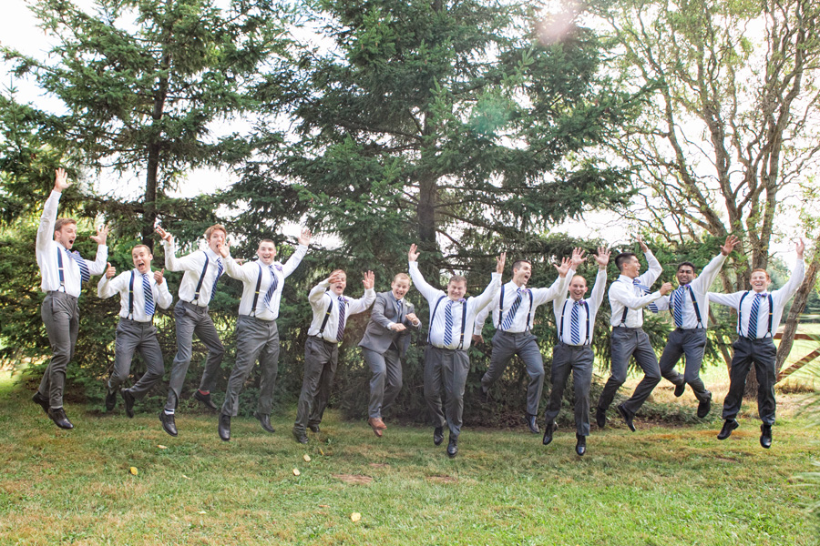 Bellingham wedding photography groomsmen jump fun