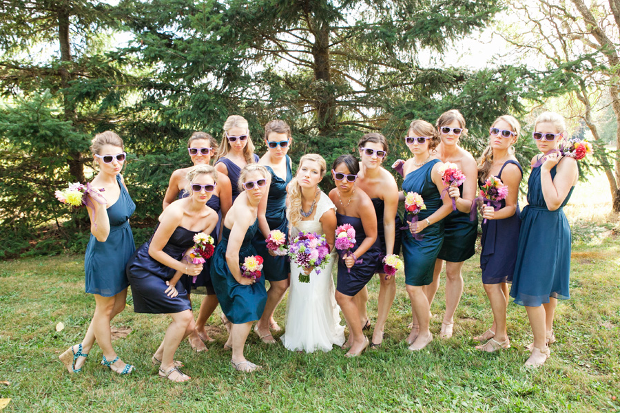 Bellingham wedding photography fierce bridesmaids sunglasses