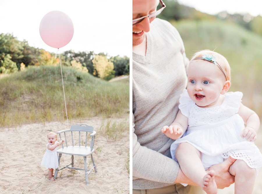 One year baby photography beach in Grand Haven Michigan