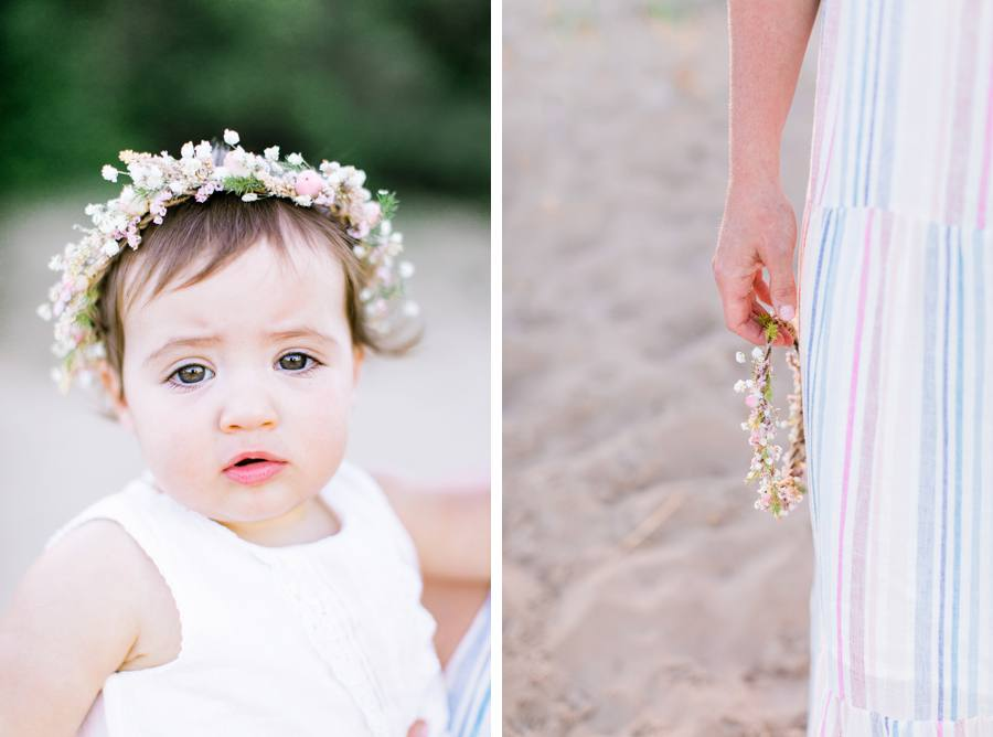 Baby girl floral crown Grand Haven Michigan family photographer Elm & Olive