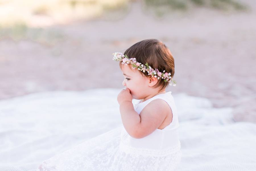 Baby floral crown on beach in Grand Haven, MI Elm & Olive