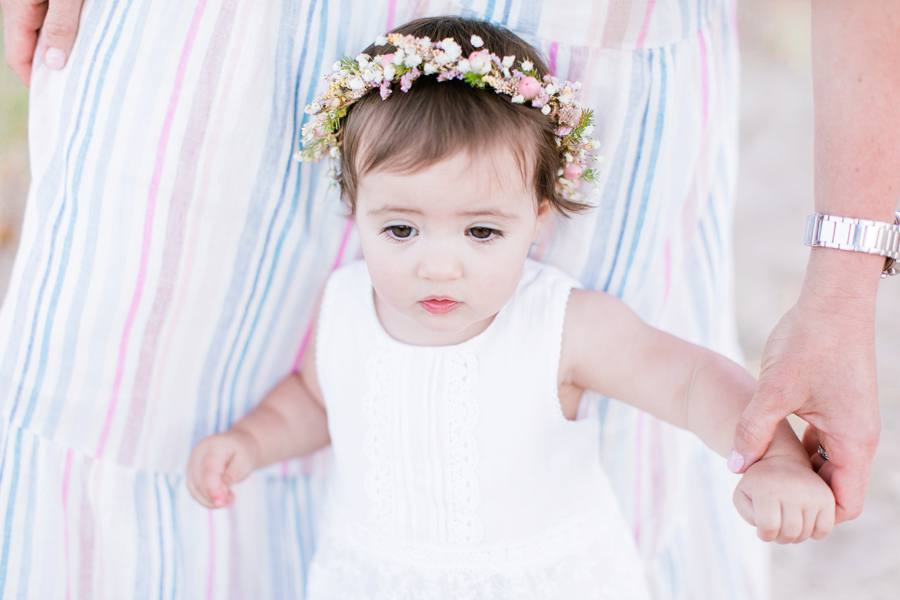 Light and airy natural light Floral Crown baby photography Elm & Olive