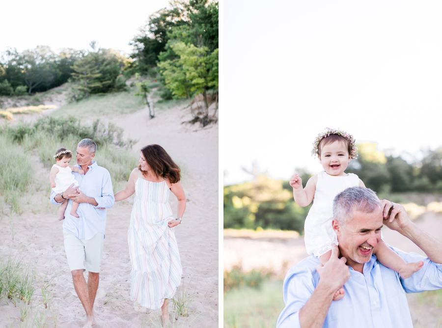 Family walking on beach in Grand Haven Michigan Elm & Olive Photography