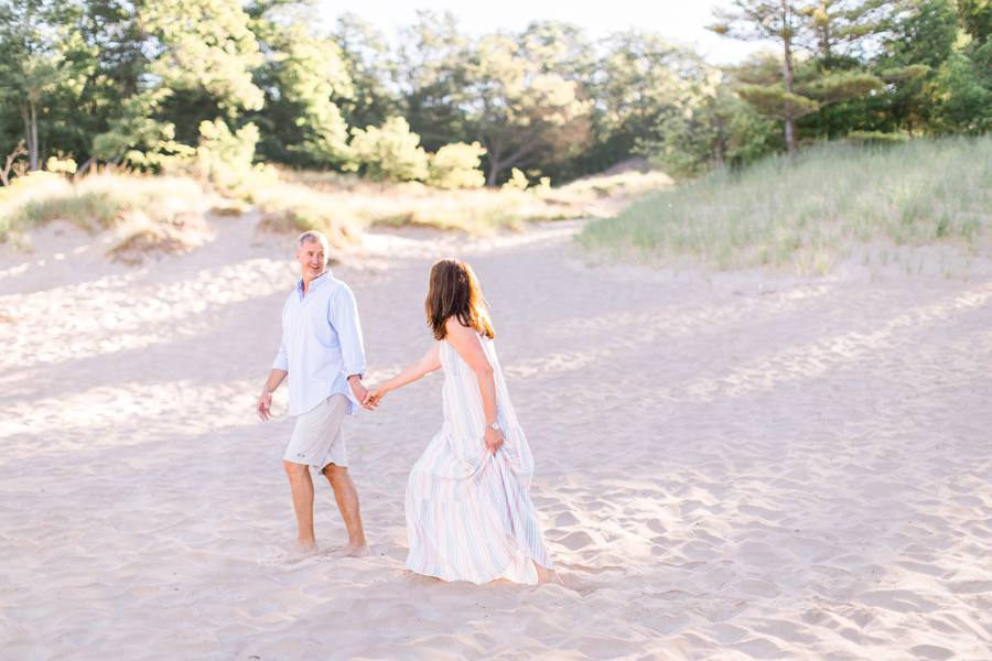 Couple on beach in Grand Haven, MI Elm & Olive