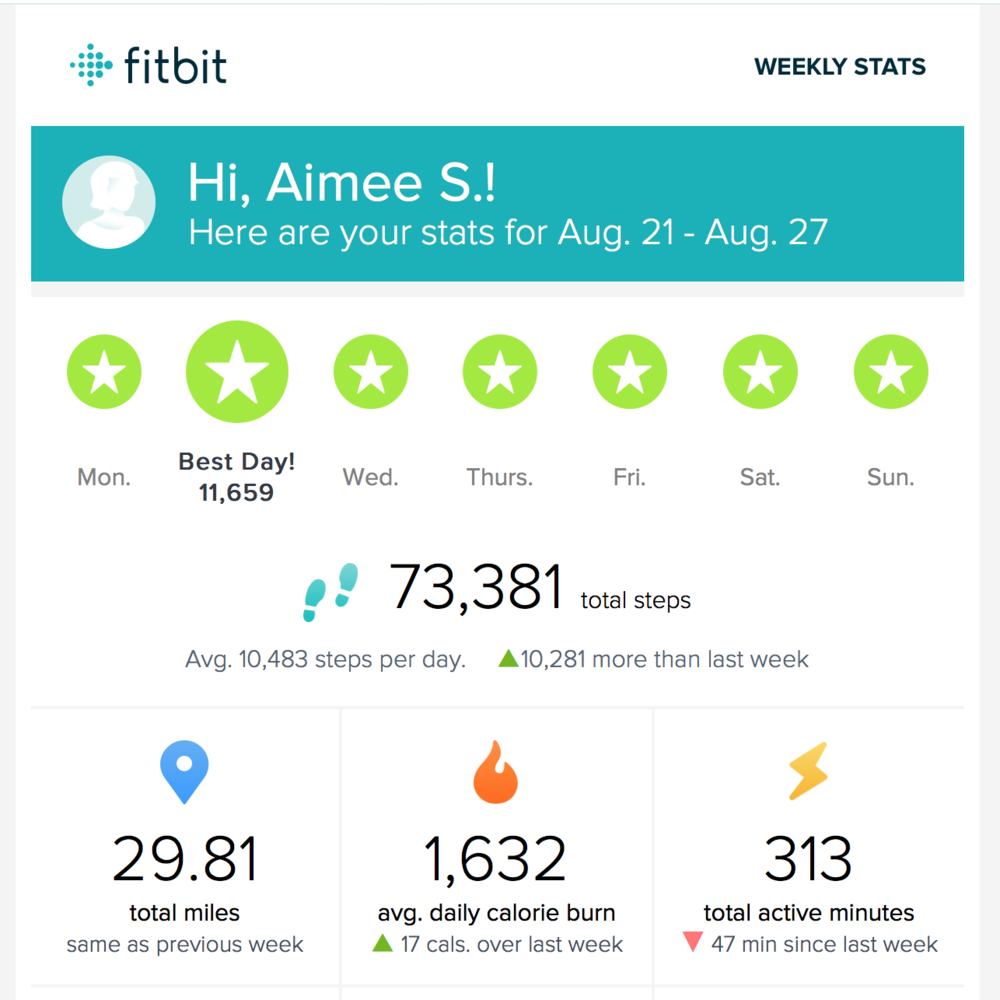 Here is a screenshot of my weekly stats - you receive these every Monday when you register your device with fitbit!  If give you motivation for the week ahead!