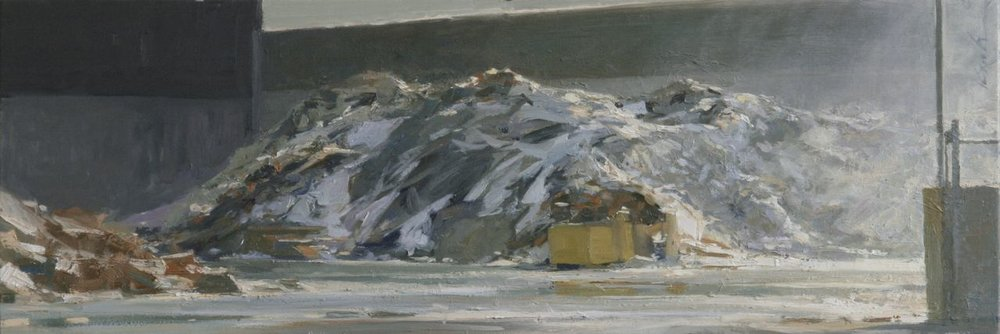 "Paper Pile & Mist; Rock Tenn Recycling Plant , oil on panel, 10"" x 30"""