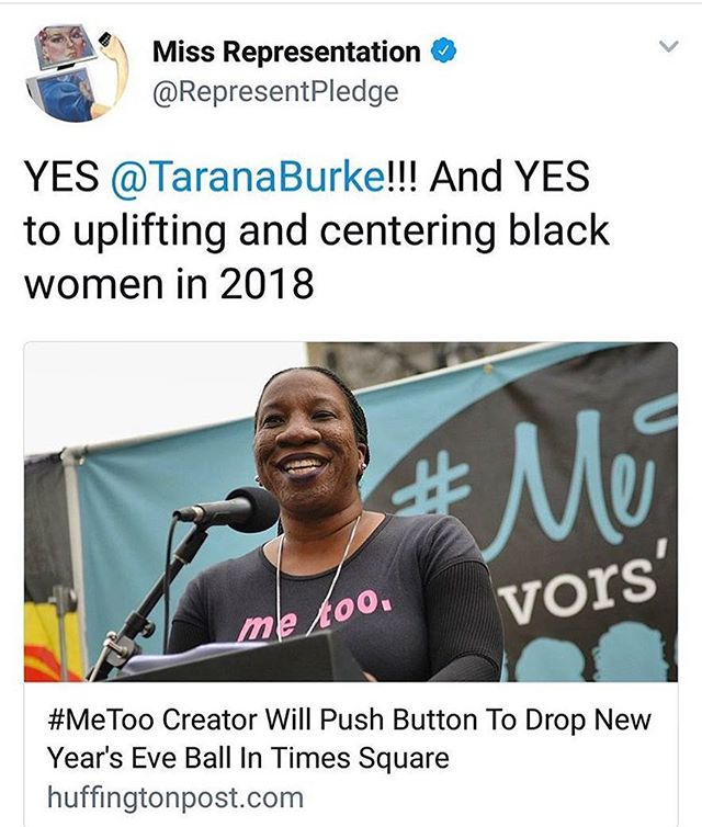 Congratulations Tarana Burke, creator of the #metoo movement for this recognition. 🙌🏻