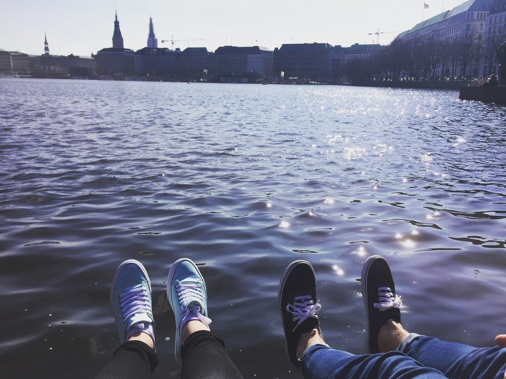 Sitting by the Alster in Hamburg