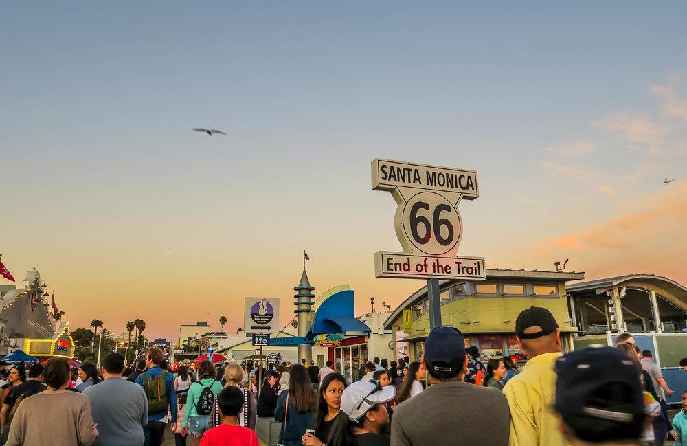 Masses of People at Santa Monica Pier