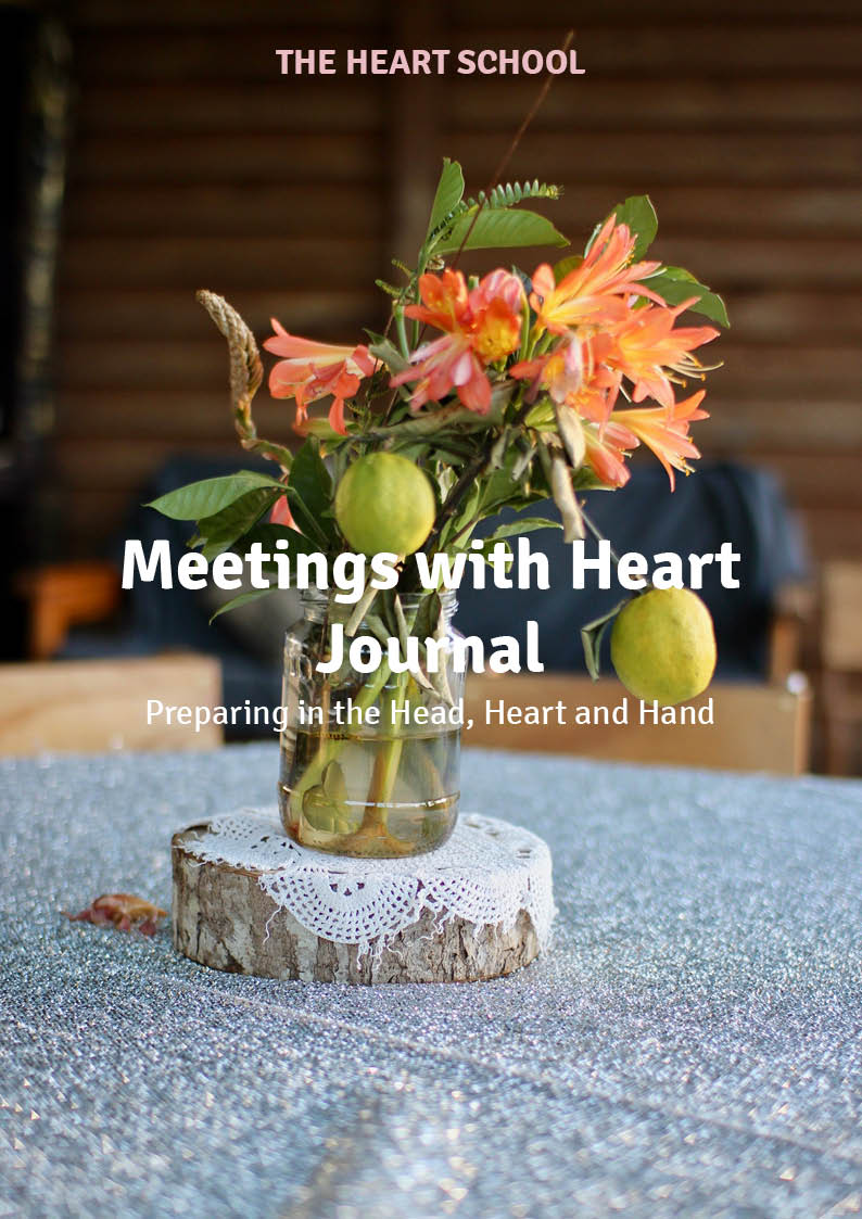 MEETINGS WITH HEART JOURNAL    NZD $49.95 plus shipping (p&p)   Our ' Meetings with Heart Journal'  provides a great framework for team collaboration. It is not for one person to fill in, but a space for multiple voices, distributed roles, and full team contribution, elevating your heart meetings even further. It is designed to be useable, useful, and still able to reflect the unique vibe of your team.  This meetings journal travels the year with your centre, setting and sharing the seen and unseen aspects of your team's heart meetings.  It comes with a wall Heart planner and is a great tool for your team's unique journey.  The journal contains 96 pages, A4, 12 months and can be implemented any month of the year and any year. Each month has space for tasks, focus, quotes, stories, ideas, and standards, as well as a year overview for planning purposes.