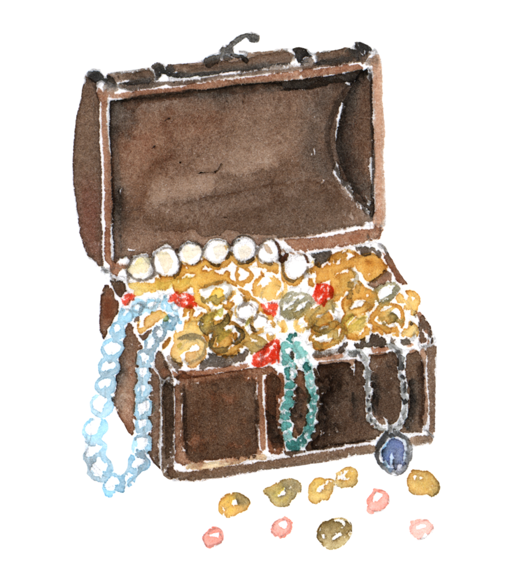Treasure chest filled with jewels watercolor Vianneart