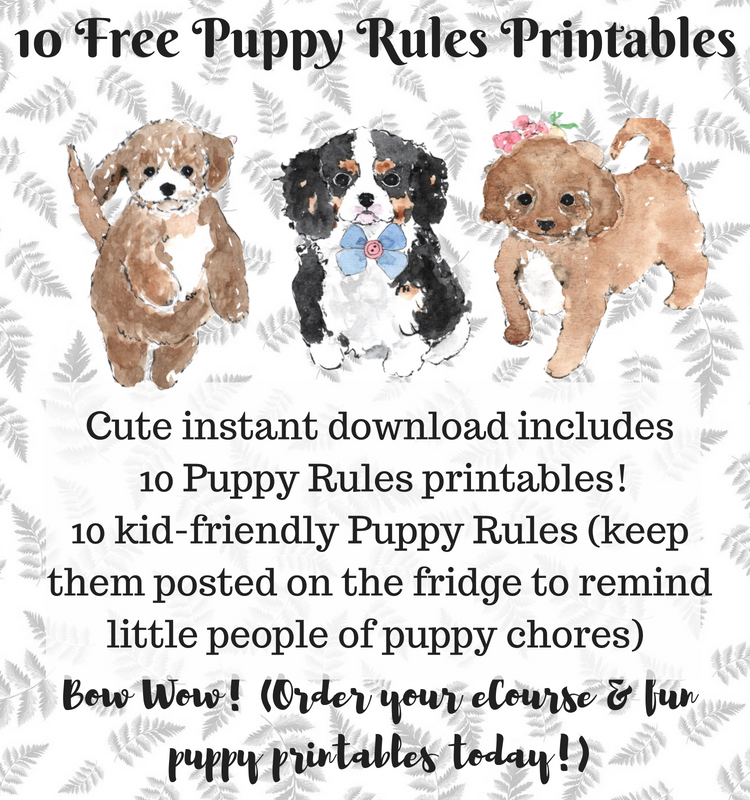 Free Puppy Printables graphic with cute puppies
