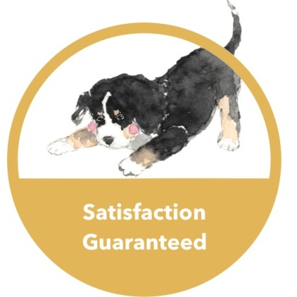Satisfaction Guaranteed Graphic with cute dog