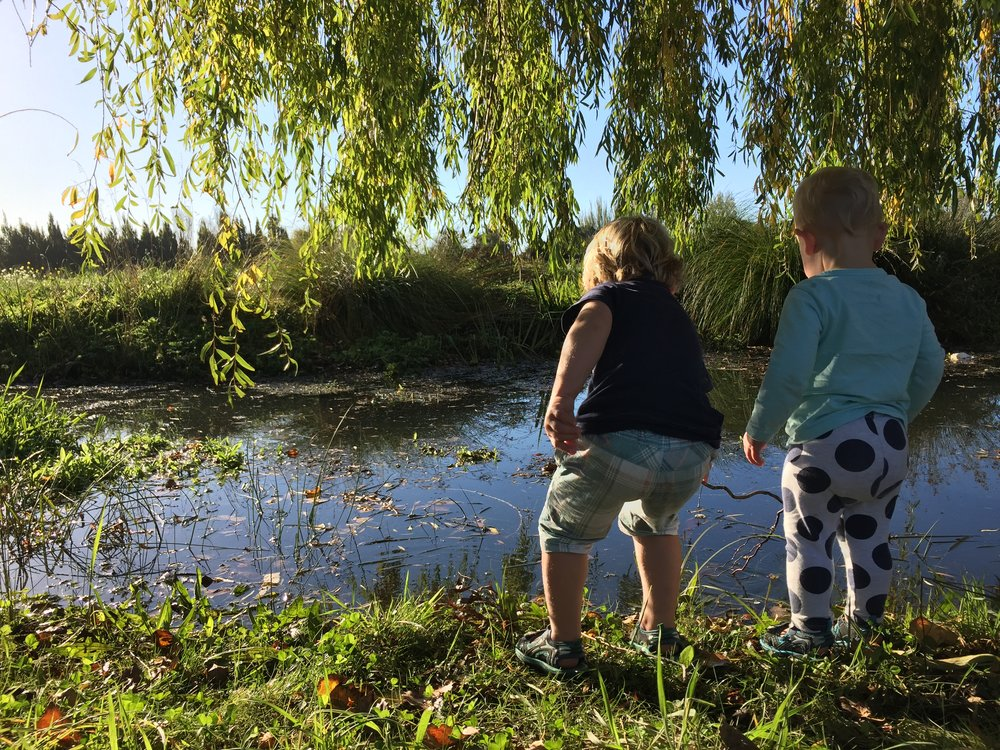 Children in the Christchurch Nature Play group 'fishing' in the Avon/Otakaro    Photo Credit: Celia Hogan