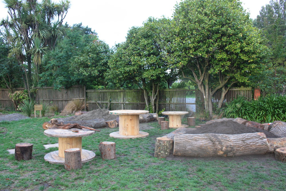 Mud kitchen set up and ready for play